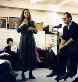 Teachers Union Commemorative Program at Wagner Labor Archives presented panel on Children of the Blacklist (Left to Right, Sophie-Louise Ullman and Eric Foner)